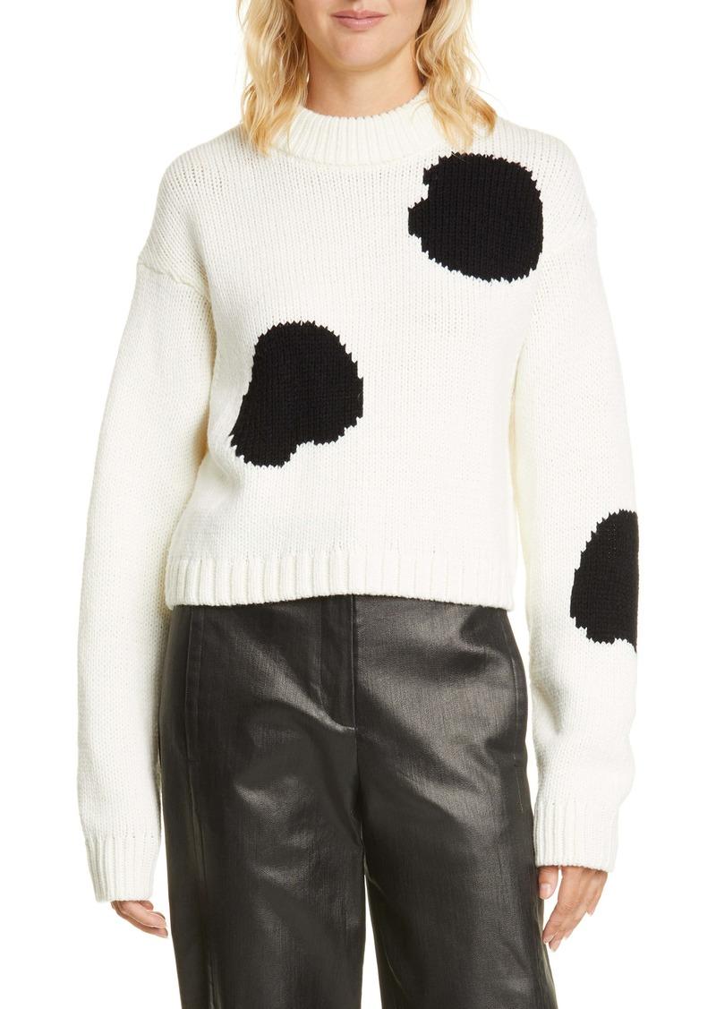 Tibi Polka Dot Intarsia Merino Wool Blend Sweater