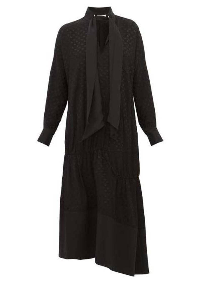 Tibi Polka-dot tie-neck twill dress