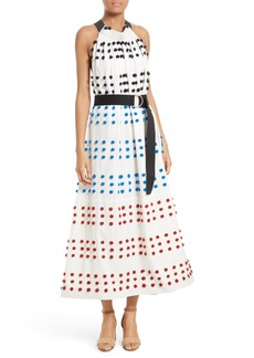 Tibi Pompom Halter Midi Dress