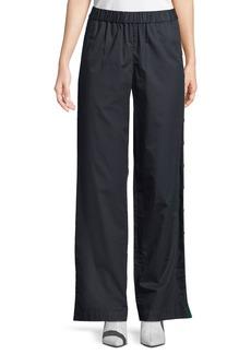Tibi Poplin Side-Snap Wide-Leg Pants