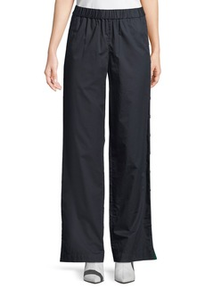 Tibi Poplin Side-Snap Wide-Leg Pants