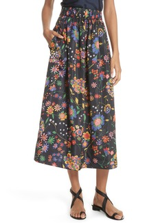 Tibi Print Tech Floral Skirt