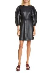 Tibi Puff Sleeve Faux Leather Minidress