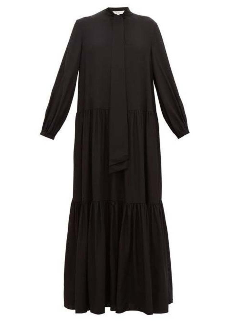 Tibi Pussy-bow tiered silk maxi dress