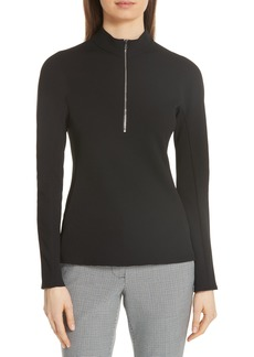 Tibi Quarter Zip Mock Neck Top