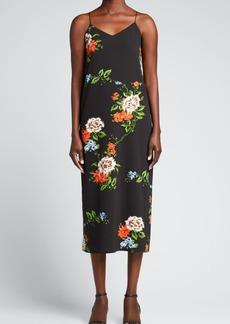 Tibi Quinn Floral-Print Crepe Slip Dress