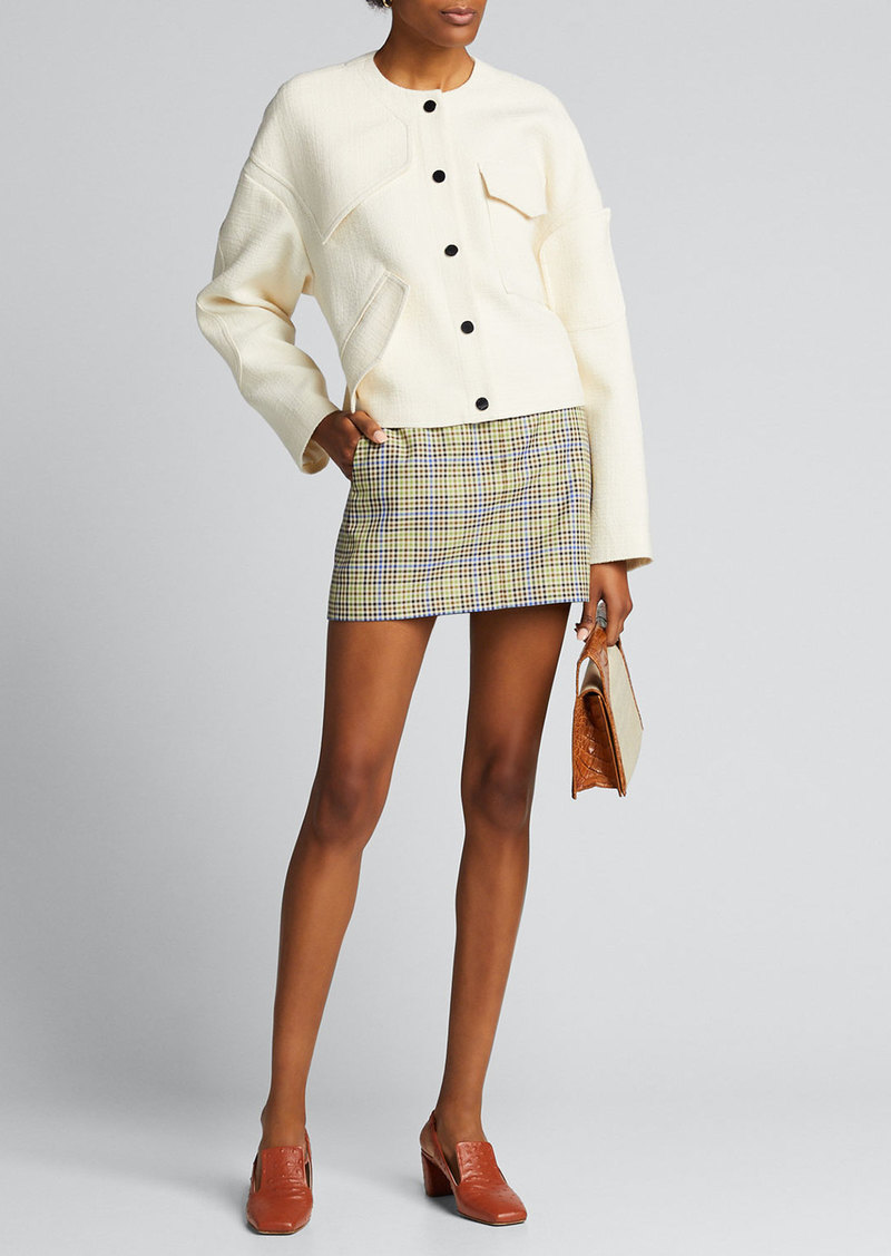 Tibi Recycled Menswear Check Mini Skirt