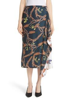 Tibi Renzo Scarf Print Asymmetrical Silk Skirt