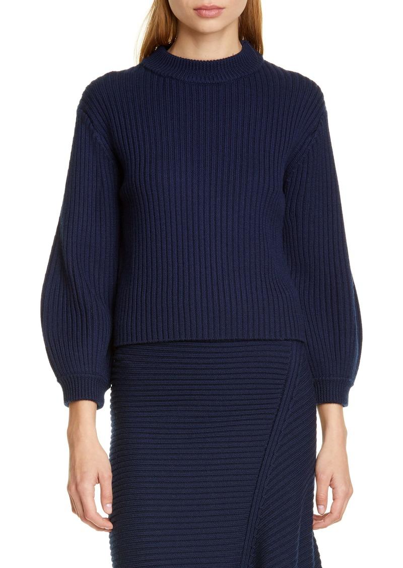 Tibi Rib Merino Wool Balloon Sleeve Sweater
