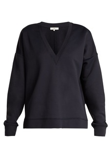 Tibi Ribbed-jersey V-neck sweatshirt