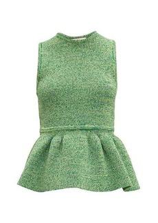 Tibi Ribbed-knit peplum top