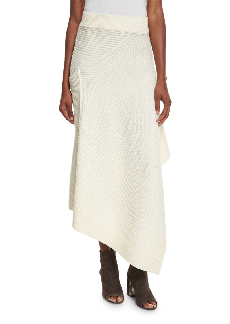 Tibi Ribbed Merino Asymmetric Wrap Skirt