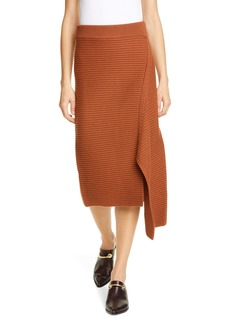 Tibi Ribbed Merino Wool Skirt