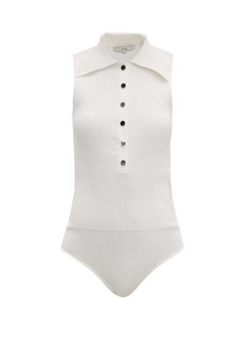 Tibi Ribbed point-collar bodysuit