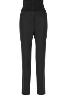 Tibi Ribbed stretch wool-paneled crepe straight-leg pants