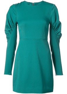 Tibi ruched panel sleeves fitted dress - Green