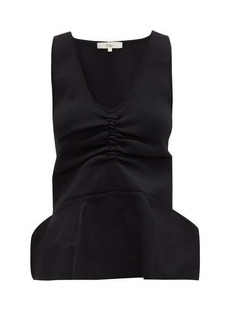 Tibi Ruched peplum-hem stretch-knit tank top