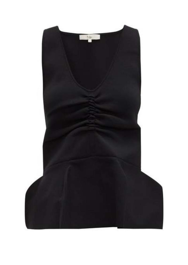 Tibi Ruched peplum-hem stretch-knit tank top