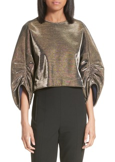 Tibi Ruched Sleeve Metallic Top