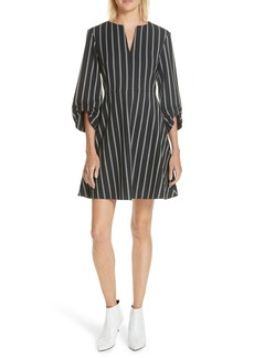 Tibi Ruched Sleeve Stripe Dress