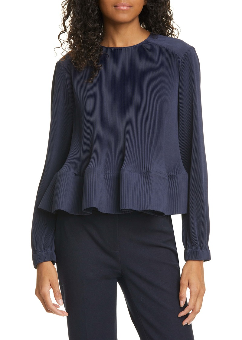 Tibi Ruffle Hem Pleated Top