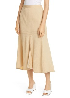 Tibi Ruffle Hem Plissé High/Low Skirt