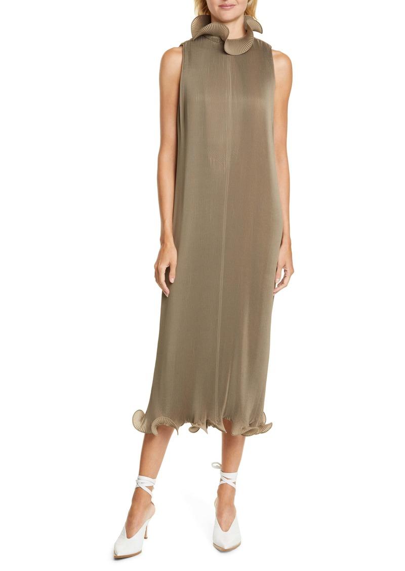 Tibi Ruffle Trim Pleated Midi Dress