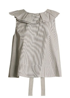 Tibi Ruffle-trimmed striped cotton cropped top