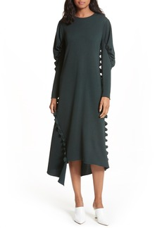 Tibi Ruffled Crepe Knit Midi Dress