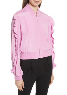 Tibi Ruffled Silk Bomber Jacket