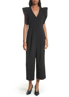 Tibi Ruffled Stretch Faille Crop Jumpsuit