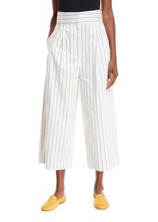 Tibi Sateen Stripe Wide-Leg Crop Pants
