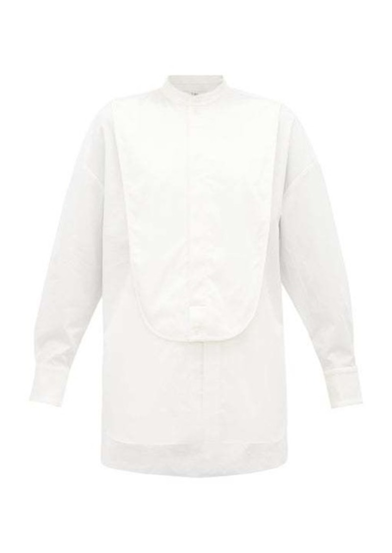 Tibi Satin-bib front cotton tuxedo shirt