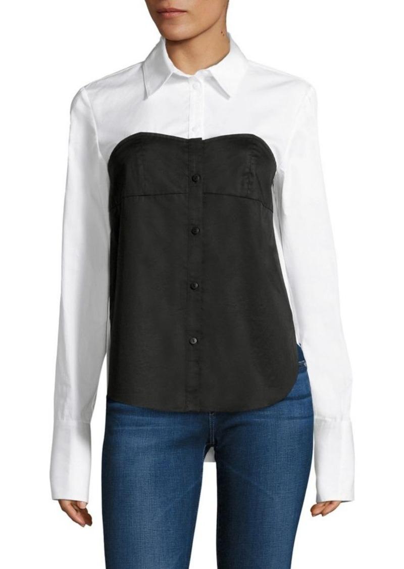 a11f901bf4db8 SALE! Tibi Tibi Satin Poplin Bustier Shirt