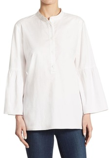 Tibi Satin Poplin Cotton Bell-Sleeve Tunic