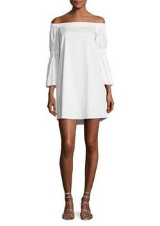 Tibi Satin Poplin Off-the-Shoulder Dress