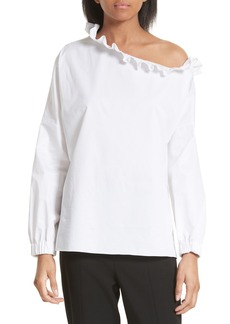 Tibi Satin Poplin One-Shoulder Blouse