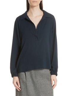 Tibi Savanna Crepe Blouson Split Neck Blouse