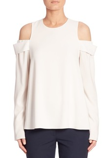 Tibi Savanna Solid Cold Shoulder Top