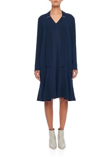 Tibi Savannah Crepe Easy Tie-Neck Dress