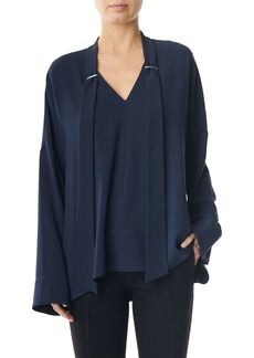 Tibi Savannah Crepe Easy Tie-Neck Top