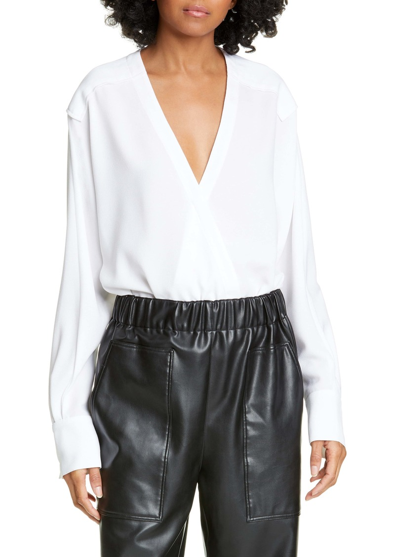 Tibi Savannah Crepe Faux Wrap Bodysuit