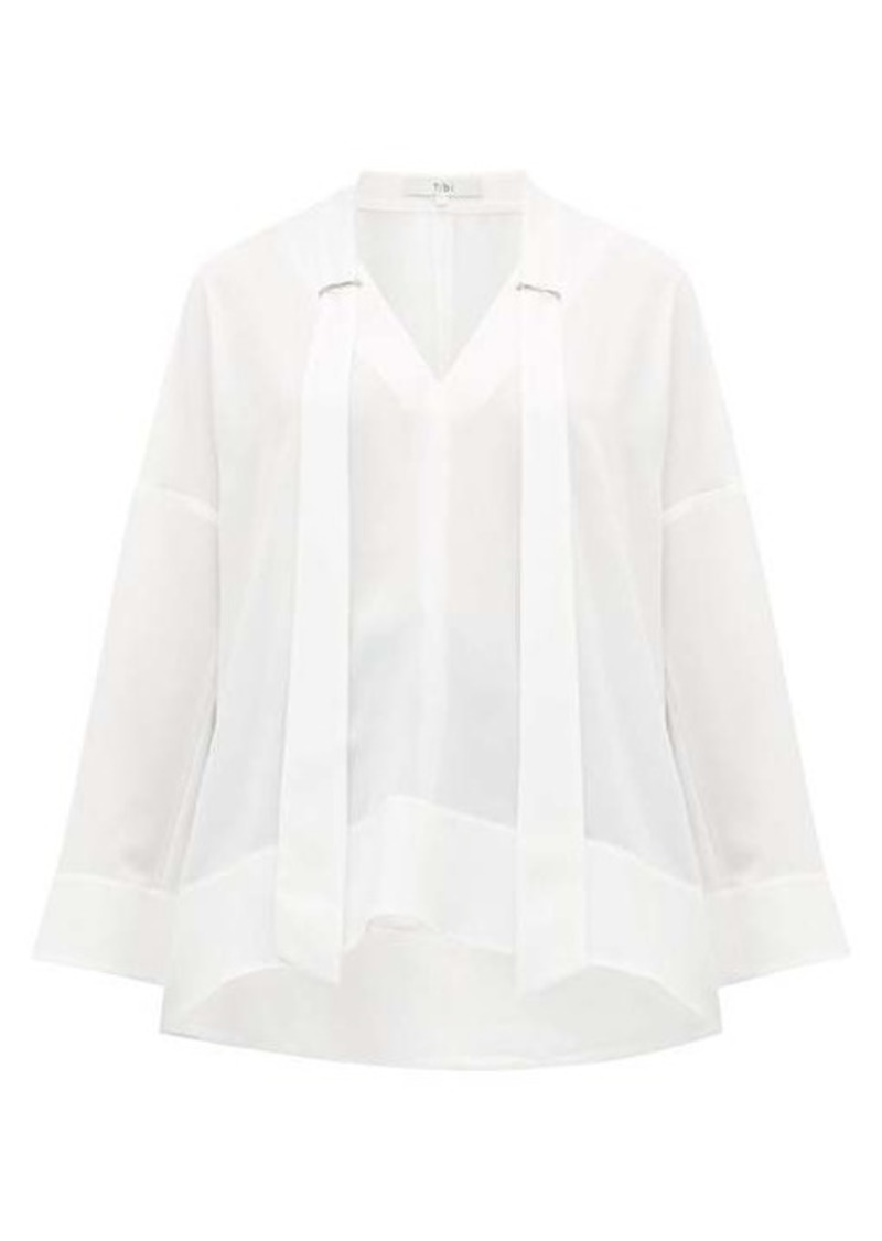 Tibi Savannah V-neck crepe blouse