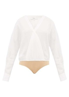 Tibi Savannah wrap crepe bodysuit