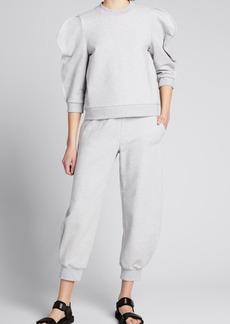 Tibi Scallop-Sleeve Cotton Sweatshirt