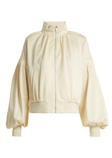Tibi Sculpted balloon-sleeve piqué track jacket