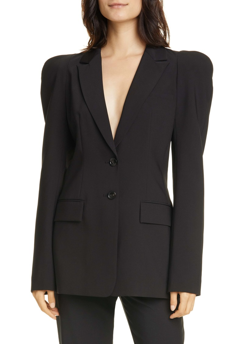 Tibi Sculpted Sleeve Tropical Blazer