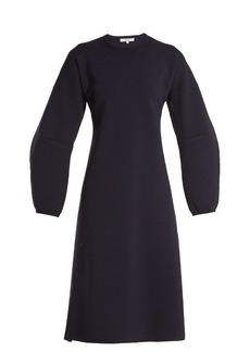 Tibi Sculptured-sleeve wool-blend ribbed-knit dress