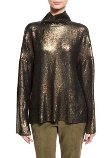 Tibi Sequin Funnel-Neck Long-Sleeve Top