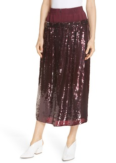 Tibi Sequin Layer Silk Midi Skirt